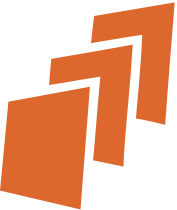 DocentEDU Logo, three overlapping rectangles